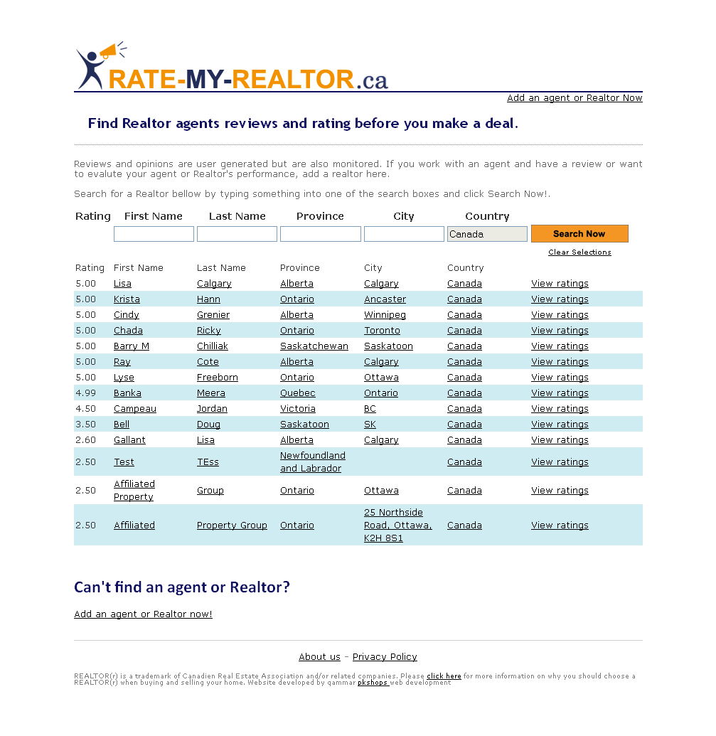 real estate agents reviews rating application