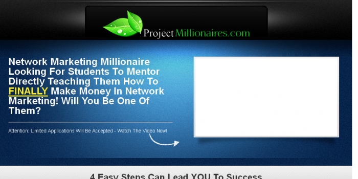 Landing Page for Project Millionaires